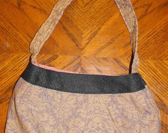 Amethyst & Gold Scroll Upholstery Fabric Large Buttercup Bag