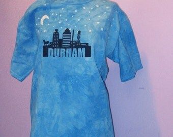 Hand-dyed crew-neck Durham, NC T-shirt, size large