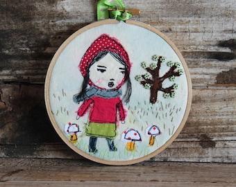 Hoop Art,  Red Hoody Girl and Mushrooms