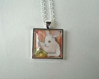 Sewing Bunny - Unique Handmade Square Rabbit Pendant