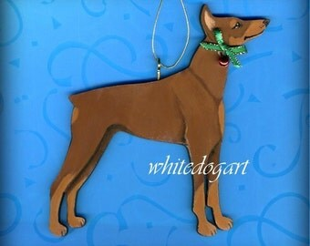Handpainted Red Doberman Pinscher Christmas Ornament