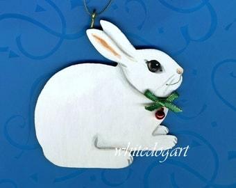 Handpainted Whtie Rabbit Christmas Ornament