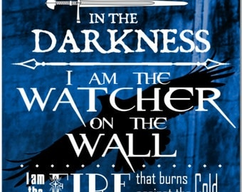 The Night's Watch Oath - Giant 10 inch Fridge Magnet Game of Thrones HBO Word Art typography #3563