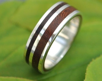 Wood Ring Rayo de Luz Nacascolo Ring - ecofriendly recycled sterling silver and wood band, wood wedding ring, mens wood wedding band