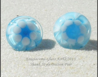 Lampwork Button Pair, Shank Style Glass Artisan Handmade Buttons Aqua White Blue SRA LETEAM Glassymom