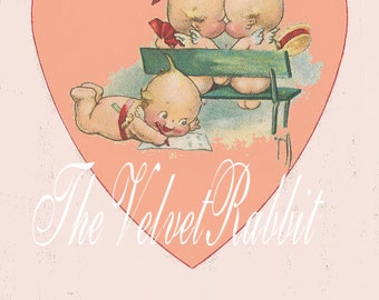 Valentine Kewpies on bench.  Darling. 10 cards.  Postcard size. Vintage style image.Adorable