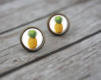 Trendy Pineapple Print Silver Stud Post Earrings