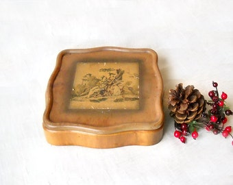 Vintage Wood Dresser Box, Colonial Courting Couple, Decoupage Lid