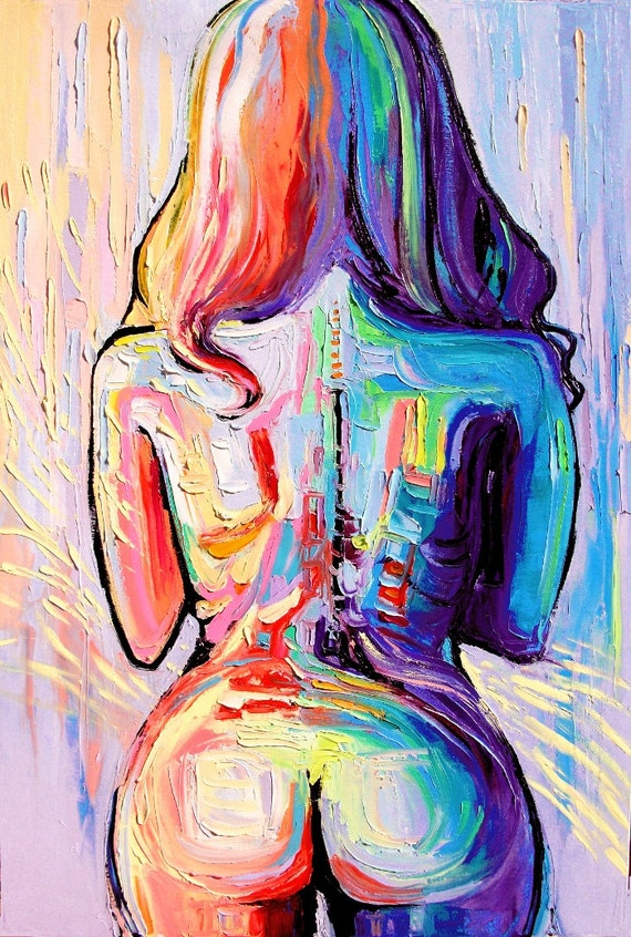 Amazon.com: Rainbow Abstract Nude Art Print Femme 146