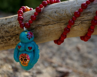 Dia de los Muertos - Day of the Dead Goddess Pendant - Frida Kahlo