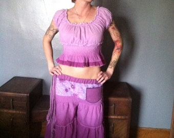 Up-Cycled Flow Pants and Matching Patchwork Top,Skirted Pants,Pixie Clothing,Festival Clothing,Gypsy Clothing,Flared Pants, Hoop pants
