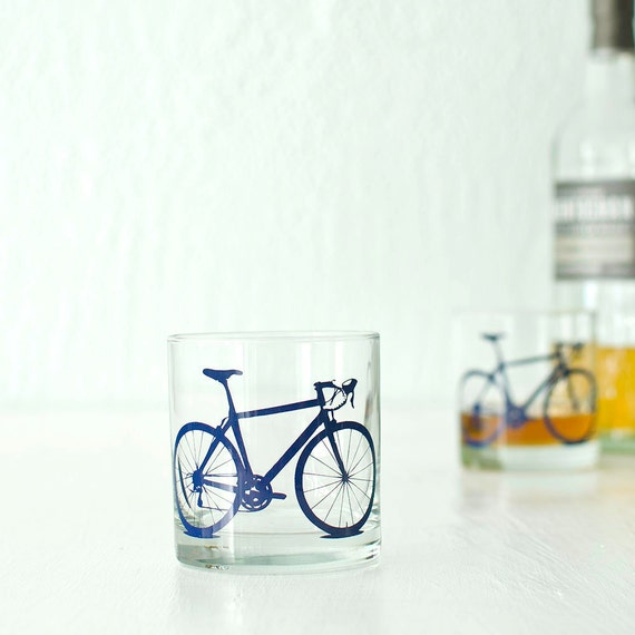 4 bicycle rocks or pint glasses, blue bike screen printed glassware