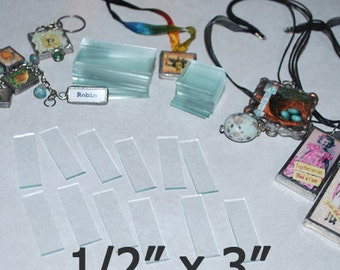 30 Pack - 1/2 x 3 Inch Rectangles - Extra Long Stix - Clear Pendant Glass for Collage Altered Art Soldered Jewelry.