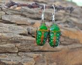 Floating Real Green & Red Beetle Earrings Stephanorrhina guttata similar to Moonrise Kingdom
