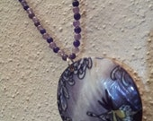 Grey, White, & Purple W/a Hint of Yellow Amethyst And Mother-Of-Pearl Necklace