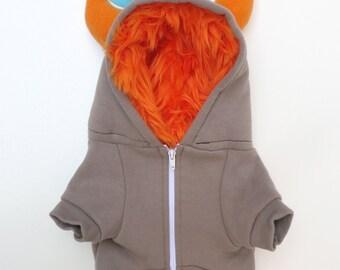 Dog  Monster Hoodie - Gray with orange - Size XLarge - Pet - monster hoodie, horned sweatshirt, custom jacket
