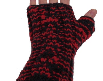 Red and Black Cabled Wrist Warmers - Hand Knit Fingerless Gloves - Wool