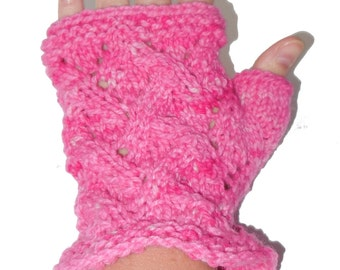 Hand Dyed Pink Wool - Lace Wrist Warmers - Hand Knit Fingerless Mittens