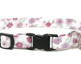 Cat Collar - Soft Purple Floral - Breakaway Safety Cute Fancy Cat Kitten Collar