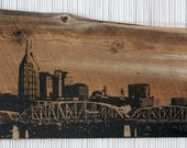 "Nashville Skyline Wall Hanging on Reclaimed Barn Wood - 10""x18"""
