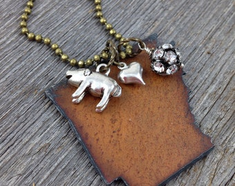 I Love ARKANSAS Necklace -  Recycled Metal State Shape - Pickup Truck Razorback Pig Charm - Rhinestones - Heart Charms