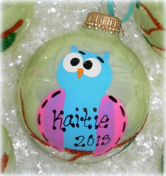 Personalized Whimsical Owl Glass Hand Painted Christmas Tree Ornament, Handmade Christmas Gift Under 20, Owl Gift