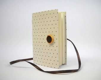 White dotted journal notebook diary lined paper, Brown tiny dots, Handmade journal for Personal writing, Elegant Bridal gift
