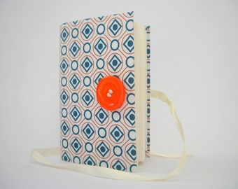 White Blue journal handmade journal notebook diary lined journal writing journal orange button geometric squares Elegant Bridal gift
