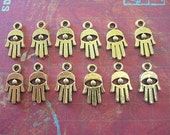 Tiny Evil Eye Hamsa Hand of Fatima Amulet in Brass 15mm lot of 12