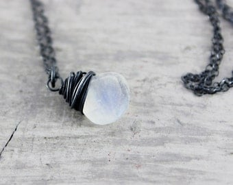 Rainbow Moonstone Necklace, Sterling Silver Necklace, White Gemstone Necklace, Wire Wrap Necklace, Wedding Jewelry, Bridal Necklace, June