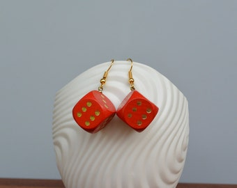 Red wooden dice earrings with gilded  or silver plated earwires