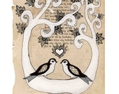 Forever yours - Art print A4 size -  Birds in love - Mixed media drawing on vintage book page