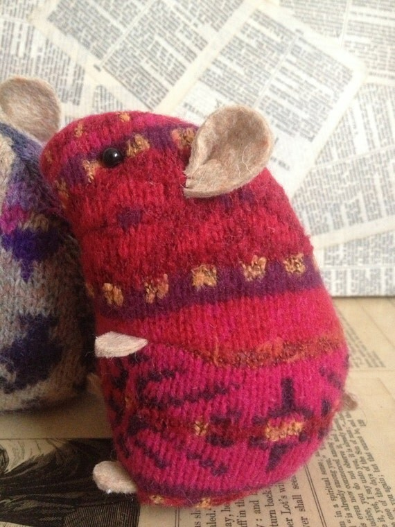 Knitting Pattern For Hamster Jumper : Red pattern plush hamster made from recycled jumper by raggyrat