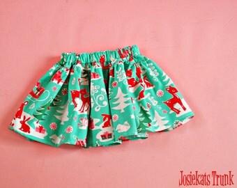 Deer Skirt Twirl - Christmas Infant Skirt - Holiday Deer Skirt - Baby Skirt - Girl Deer Skirt - Toddler Fabric 0/6 6/12 12/18 18/24 2T 3T 4T