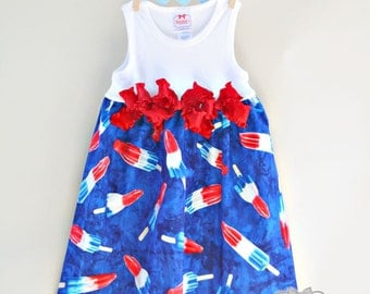 4th of July Bomb Pop Dress Size 4 to 12 Custom Dress Patriotic Summer