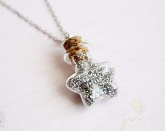 Fairy dust bottle necklace, cute, kawaii, whimsical miniature glitter star jewelry, gift for her