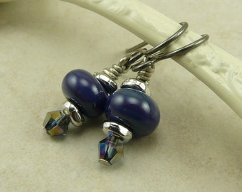 Midnight Sky Petite Lampwork Bead Earrings - Dark Blue Purple Indigo Crystal Small Dainty - Niobium Hypoallergenic Ear Wires