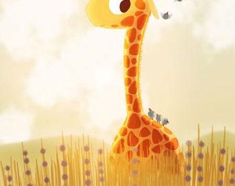 "Giraffe, Safari, Cute Artwork, Kids Card, blank greeting card - ""Savannah"""