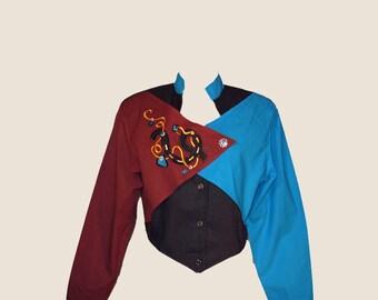 Vintage Blouse, Women's Shirt, 1980's, Western, Color Block, Medium