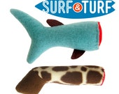 Handmade Cat Toy / Severed Leg Cat Toy / Surf and Turf 2-Pack / Catnip Toys / Shark / Giraffe