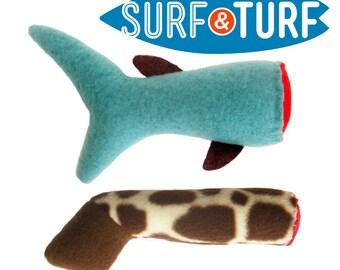 Handmade Cat Toy / Severed Leg Cat Toy / Surf and Turf 2-Pack / Catnip Toys / Shark / Giraffe
