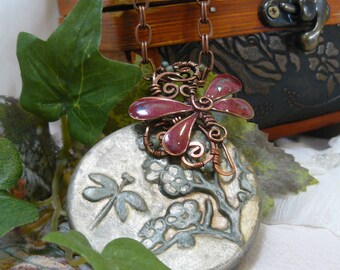 Burnt Sienna Dragonfly and Olive Green Polymer Clay Pendant