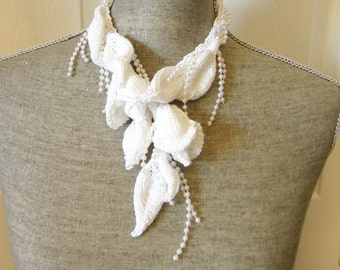 Women Hand Knit Jewelry Necklace Fiber Art Jewelry - Wedding White Bridal Necklace