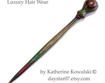 Hair Stick Pin -- Wooden Hand-Turned -- Timberland Hardwood -- (DAYSTAR) Katherine Kowalski woodturning handmade, green, red, brown