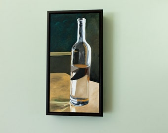 Original Painting Oil on Wood Panel Original Artwork Realism Wall Art Wall Decor Glass Wine Bottle Clear Glass Painting Neutral Wall Decor