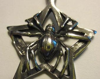 Spider Pentagram Pendant Lead Free Pewter Wiccan Pagan
