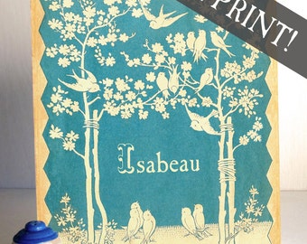 Vintage Personalized Wall Decor - Blue Bird - PANEL PRINT - Perfect Baby Shower Gift, Children's Room, Ready to Hang Art