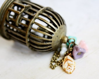 Freedom Necklace - Shabby Chic, Romantic, Whimsical, Vintage Inspired miniature bird cage