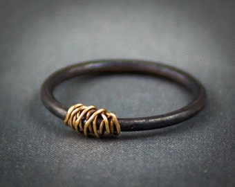 Oxidized Copper Mini Ring, 14k Gold Wire Wrapped Stacking Ring