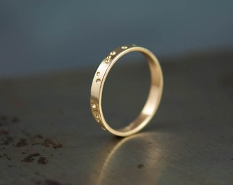 14k Brushed Gold Constellation Ring, Modern Wedding Band, His and Hers Rings